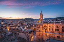 Aerial View Of Malaga City And Cathedral At Sunset - Malaga, Andalusia, Spain