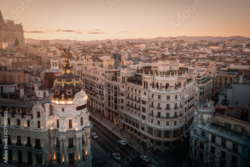 Aerial view of Gran Via Street - Madrid, Spain