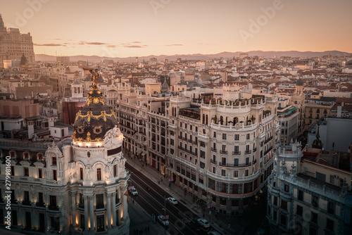 Foto  Aerial view of Gran Via Street - Madrid, Spain