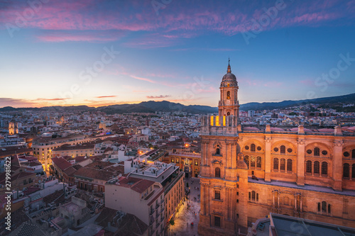 Aerial view of Malaga city and Cathedral at sunset - Malaga, Andalusia, Spain