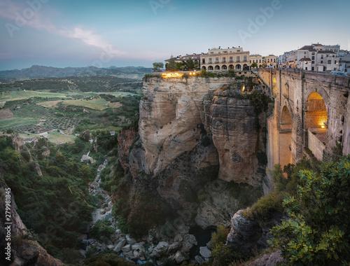 Aerial view of Tajo Gorge and Ronda Puente Nuevo Bridge at sunrise - Ronda, Malaga Province, Andalusia, Spain