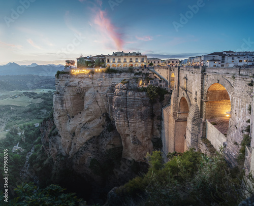 Fototapeta Aerial view of Tajo Gorge and Ronda Puente Nuevo Bridge at sunset - Ronda, Malag