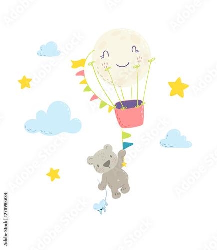 Fototapeta Cute Bear Is Flying In A Hot Air Balloon Cartoon Flat Vector Illustration For Kids Perfect For T Shirt Print Nursery Textile Kids Wear