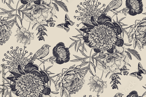 Floral seamless pattern with garden flowers peonies, bird and butterflies.