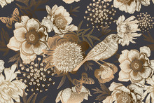 Vintage Seamless Luxury Pattern With Peonies, Bird And Butterflies.