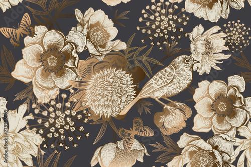 Fototapeta Vintage seamless luxury pattern with peonies, bird and butterflies. obraz