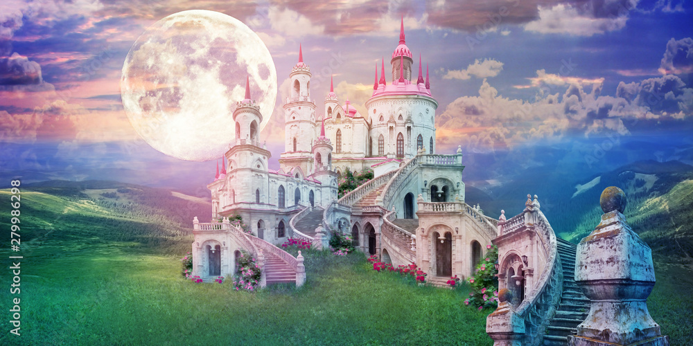 Fototapeta fantastic landscape with beautiful old castle and moon. Wonderland background