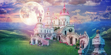 Fantastic Landscape With Beautiful Old Castle And Moon. Wonderland Background