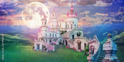 Obraz fantastic landscape with beautiful old castle and moon. Wonderland background - fototapety do salonu