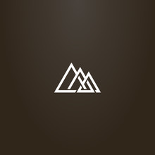 White Sign On A Black Background. Simple Vector Line Art Sign Of Three Interlaced Triangles