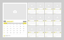 Calendar For 2020 Year In Clean Minimal Table Simple Style With Place For Photo. Week Starts On Sunday. Set Of 12 Months.
