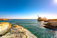 Edro III Shipwreck At Sunset Near Coral Bay, Peyia, Paphos, Cyprus