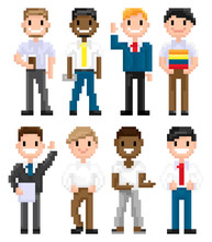 Pixel Art Characters Vector, Man Wearing Suit And Tie, Hipster Male With Cup Of Coffee In Plastic Mug, Friends Set, Isolated People Officer And Citizen. Pixelated Mans For Business Or Education Game
