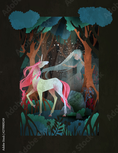 Young woman and unicorn in front of night forest, fairytale illustration - 279989249
