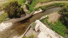 Ancient Roman Aqueduct Supplying Water To The City Of Caesarea, Built By Soldiers Of The Tenth Legion. Israel. View From The Drone.