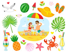 Couple Lying On Chaise Lounge With Cocktails, People On Summer Beach. Image Decorated Around By Cocktail, Tropical Fruit, Crab And Shell, Flip Flops Vector. Summertime Objects