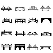 Bridge Icons Vector Set. Bridge Icon, Various Bridges Illustration Symbol Collection.
