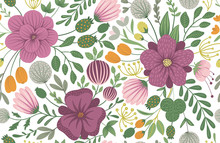 Vector Floral Seamless Background. Flat Trendy Illustration With Flowers, Leaves, Branches. Repeating Pattern With Meadow, Woodland, Forest Plants..