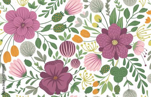 Slika na platnu Vector floral seamless background