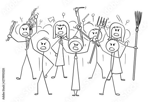 Vector cartoon stick figure drawing conceptual illustration of angry mob characters with torch and tools like pitchfork as weapons Canvas-taulu