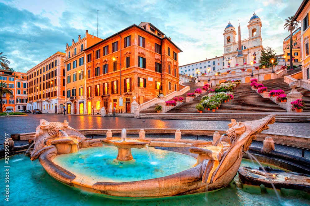 Fototapety, obrazy: Piazza de Spagna in Rome, italy. Spanish steps in the morning. Rome architecture and landmark.
