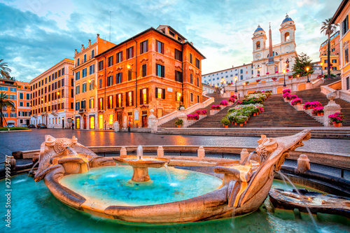 Photo Stands Rome Piazza de Spagna in Rome, italy. Spanish steps in the morning. Rome architecture and landmark.