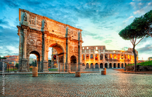 Poster Con. Antique Arch of Constantine and Colosseum in Rome, Italy. Triumphal arch in Rome, Italy. North side, from the Colosseum. . Colosseum is one of the main attractions of Rome. Rome architecture and landmark.