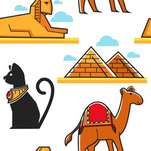Egypt Seamless Pattern Pyramid And Sphinx Cat And Camel