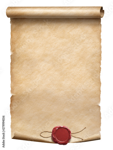Fotografia, Obraz Old parchment scroll with wax seal isolated on white