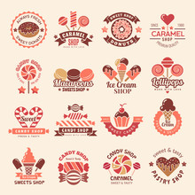 Candy Shop Badges. Sweets Cookie Cupcakes Lollipop Symbol For Confectionary Vector Logos Collection. Illustration Of Shop Candy, Dessert Lollipop