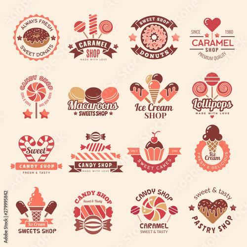 Carta da parati Candy shop badges