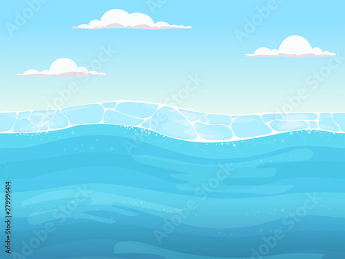 Water Game Seamless Liquid Blue Surface Background For 2d