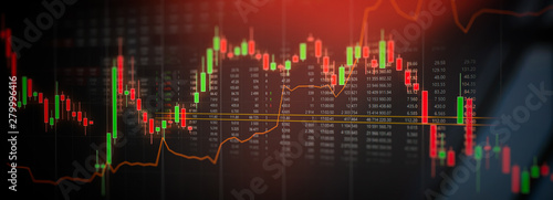 Leinwand Poster Stock market trading graph, investment chart