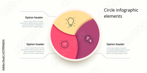 Fotografie, Tablou Business process chart infographics with 3 step circles