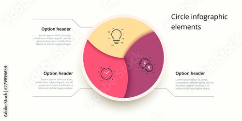 Vászonkép Business process chart infographics with 3 step circles