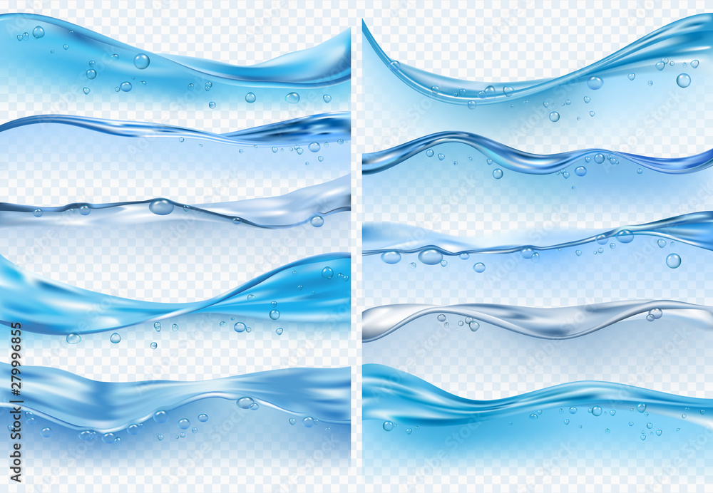 Fototapeta Wave realistic splashes. Liquid water surface with bubbles and splashes ocean or sea vector backgrounds on transparent background