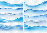 Fototapeta Fototapety do łazienki - Wave realistic splashes. Liquid water surface with bubbles and splashes ocean or sea vector backgrounds on transparent background
