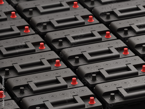 Canvas Print Rows of 12V car batteries