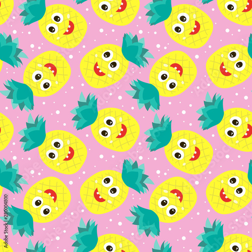 Seamless pattern with colorful pineapples.