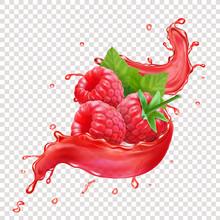 Raspberries In Splashing Red Juice. Realaistic Sweet Forest Berry Splash
