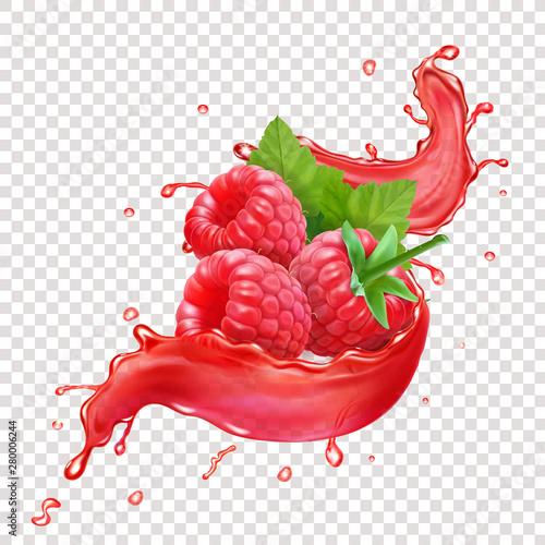 Fotografía Raspberries in splashing red juice