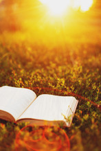 An Old Book On A Summer Meadow At Sunset