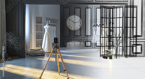 Photo Wedding dress atelier in an elegant Victorian building, with display of wedding