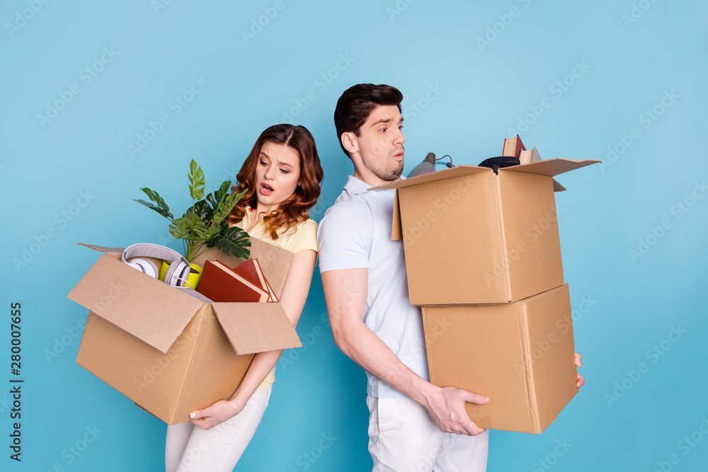 Fototapety, obrazy: Portrait of his he her she nice-looking attractive sad unhappy upset worried nervous people carrying big large boxes packages isolated over bright vivid shine blue green background