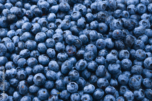 Leinwand Poster Fresh blueberry background. Texture blueberry berries close up.
