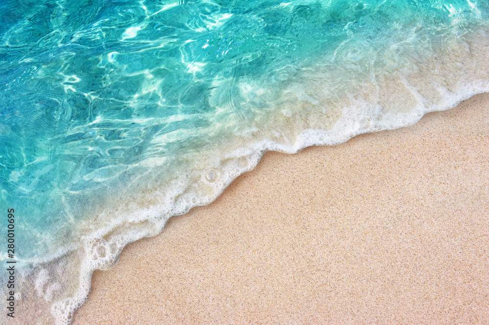 Fototapety, obrazy: Soft blue ocean wave or clear sea on clean sandy beach summer concept