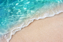 Soft Blue Ocean Wave Or Clear Sea On Clean Sandy Beach Summer Concept