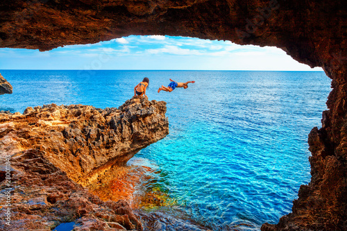 Foto auf AluDibond Braun Sea cave near Cape Greko of Ayia Napa and Protaras on Cyprus island, Mediterranean Sea.