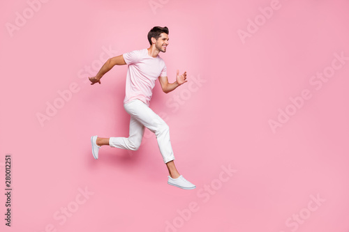 Full size profile side photo of attractive person running smiling isolated over Fototapet