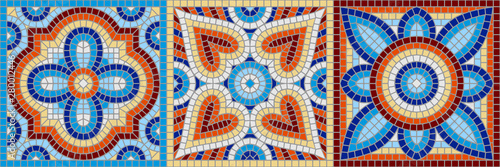 Fototapeta Ancient mosaic ceramic tile pattern.